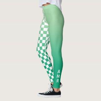 Monogram Green Gradient White Checkered Pattern Leggings