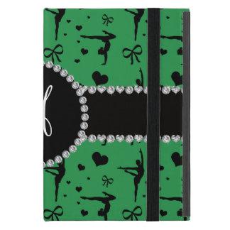 Monogram green gymnastics hearts bows covers for iPad mini