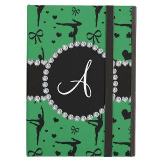 Monogram green gymnastics hearts bows iPad air case