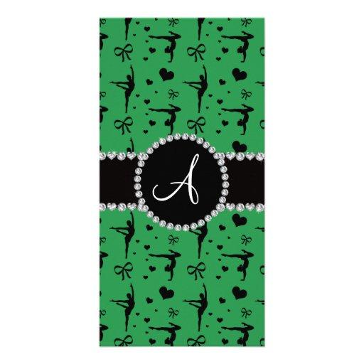 Monogram green gymnastics hearts bows photo card