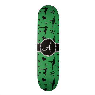 Monogram green gymnastics hearts bows skate deck
