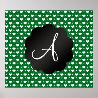 Monogram green hearts polka dots poster