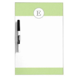Monogram Green Herringbone Dry Erase Board