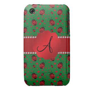 Monogram green ladybugs hearts dots iPhone 3 cover