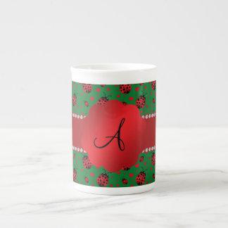 Monogram green ladybugs hearts dots porcelain mug