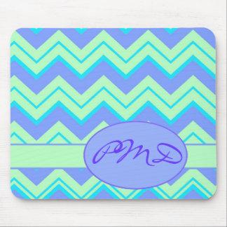 Monogram Green Lavender Chevron Zizzzag Customized Mouse Pad