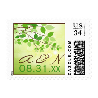 Monogram Green Leafy Branch Save the Date Postage