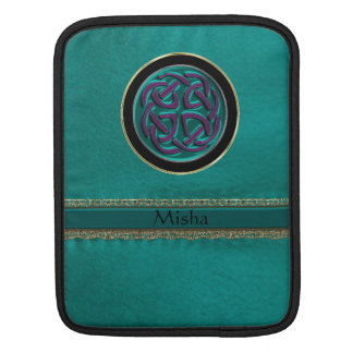 Monogram Green Leather with Celtic Knot iPad Sleeves