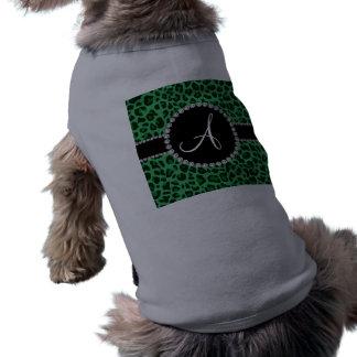Monogram green leopard print circle dog tee