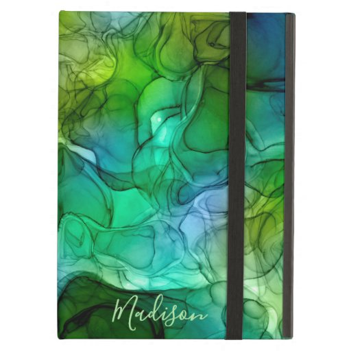 Monogram green marbling dreams case for iPad air