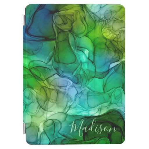 Monogram green marbling dreams iPad air cover