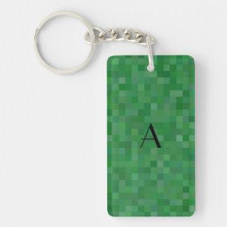 Monogram green mosaic squares Single-Sided rectangular acrylic keychain