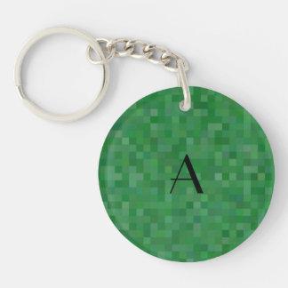 Monogram green mosaic squares Single-Sided round acrylic keychain