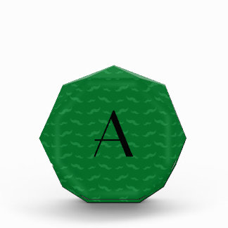 Monogram green mustache pattern award