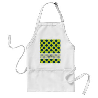 Monogram Green Navy Blue Chic Polka Dot Pattern Adult Apron