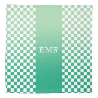 Monogram Green Ombré Stripe on Checkered Pattern Duvet Cover