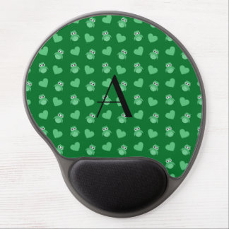 Monogram green owls and hearts gel mouse pads