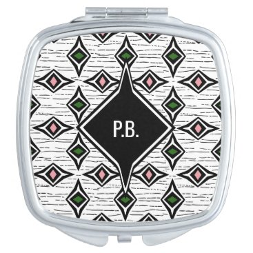 Aztec Themed Monogram green pink funky diamond shapes compact mirror