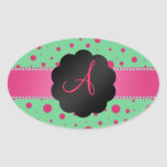 Monogram green pink polka dots oval stickers