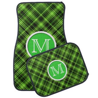 Monogram Green Plaid Floor Mats Floor Mat