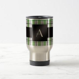 Monogram green plaid travel mug