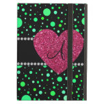 Monogram green polka dots pink heart iPad folio case