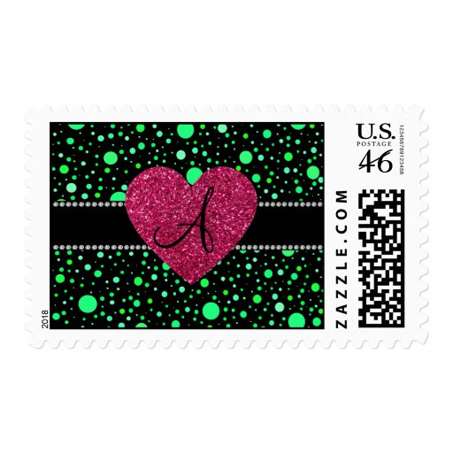 Monogram green polka dots pink heart postage stamp