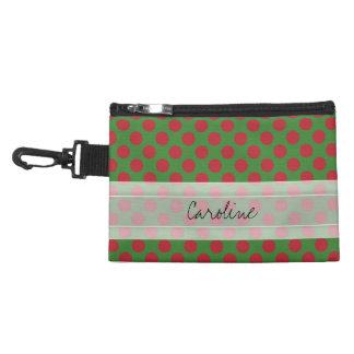 Monogram Green Red Christmas Polka Dot Pattern Accessory Bag