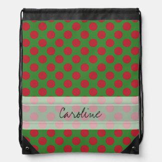 Monogram Green Red Christmas Polka Dot Pattern Backpack