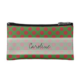 Monogram Green Red Christmas Polka Dot Pattern Cosmetic Bag