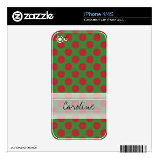 Monogram Green Red Christmas Polka Dot Pattern Decals For iPhone 4S