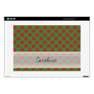 Monogram Green Red Christmas Polka Dot Pattern Decals For Laptops