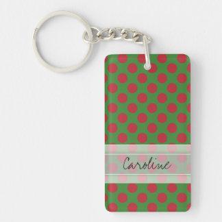Monogram Green Red Christmas Polka Dot Pattern Keychain