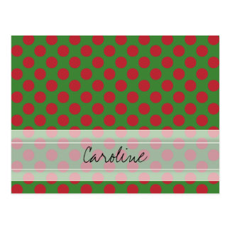 Monogram Green Red Christmas Polka Dot Pattern Postcard