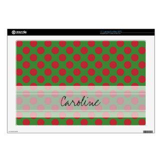 """Monogram Green Red Christmas Polka Dot Pattern Skin For 17"""" Laptop"""