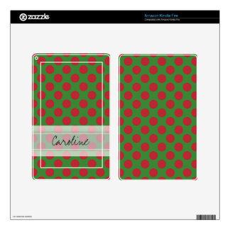 Monogram Green Red Christmas Polka Dot Pattern Skins For Kindle Fire