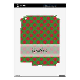 Monogram Green Red Christmas Polka Dot Pattern Skins For The iPad 2