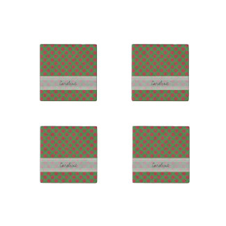 Monogram Green Red Christmas Polka Dot Pattern Stone Magnet