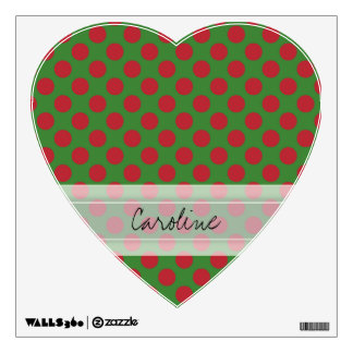 Monogram Green Red Christmas Polka Dot Pattern Wall Sticker