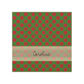 Monogram Green Red Christmas Polka Dot Pattern Wood Wall Art