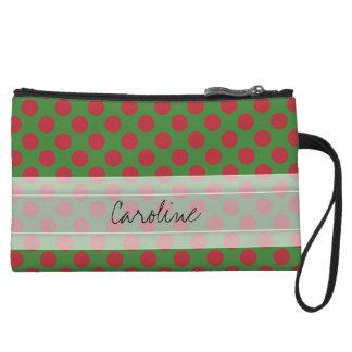 Monogram Green Red Christmas Polka Dot Pattern Wristlet Wallet