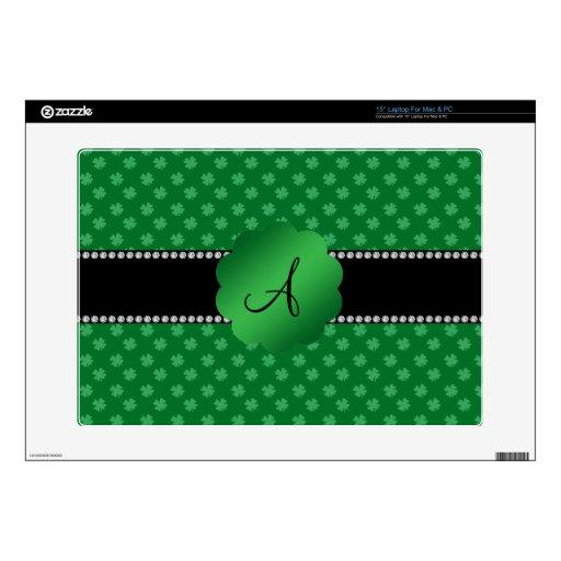 Monogram green shamrocks decals for laptops