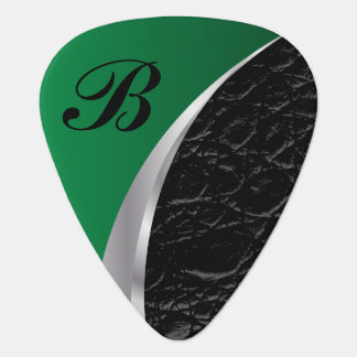 Monogram Green Silver and Black Leather Guitar Pick