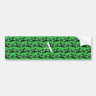 Monogram green skulls pattern bumper stickers