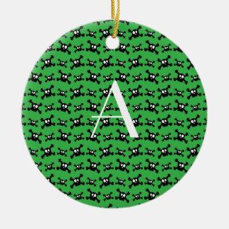 Monogram green skulls pattern ornaments