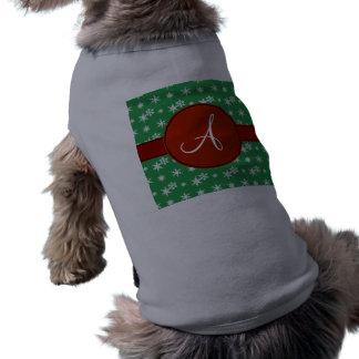 Monogram green snowflakes red circle pet tee shirt
