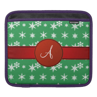 Monogram green snowflakes red circle sleeves for iPads