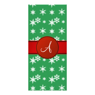 Monogram green snowflakes red circle personalized rack card