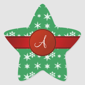 Monogram green snowflakes red circle star sticker