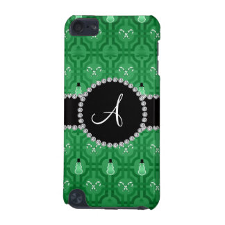 Monogram green snowman trellis pattern iPod touch (5th generation) cover